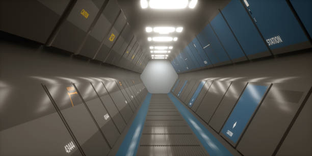 3d renderen. futuristische ruimteschip scifi corridor architectuur - foreground background perspective graphic stockfoto's en -beelden