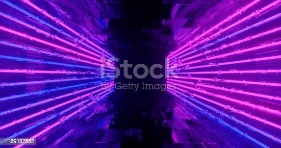1060125518 istock photo 3d render. Geometric figure in neon light against a dark tunnel. Laser line glow. Neon backgrounds 1189187552