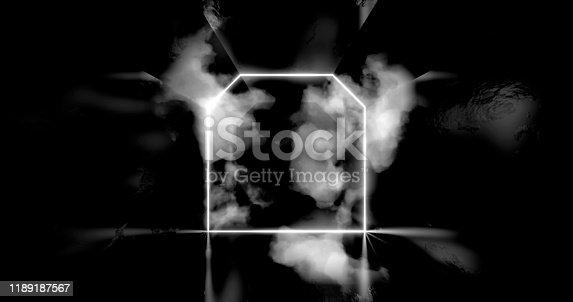 1060125518 istock photo 3d render. Geometric figure in neon light against a dark tunnel. Laser line glow. Neon backgrounds 1189187567
