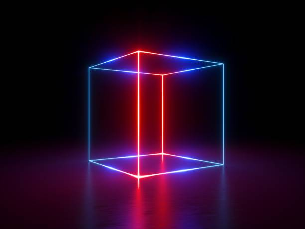 3d render, glowing lines, neon lights, abstract background, cube cage, ultraviolet, infrared, spectrum vibrant colors, laser show - cube shape stock pictures, royalty-free photos & images