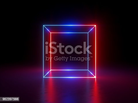 istock 3d render, glowing lines, neon lights, abstract background, cube cage, ultraviolet, infrared, spectrum vibrant colors, laser show 952397566