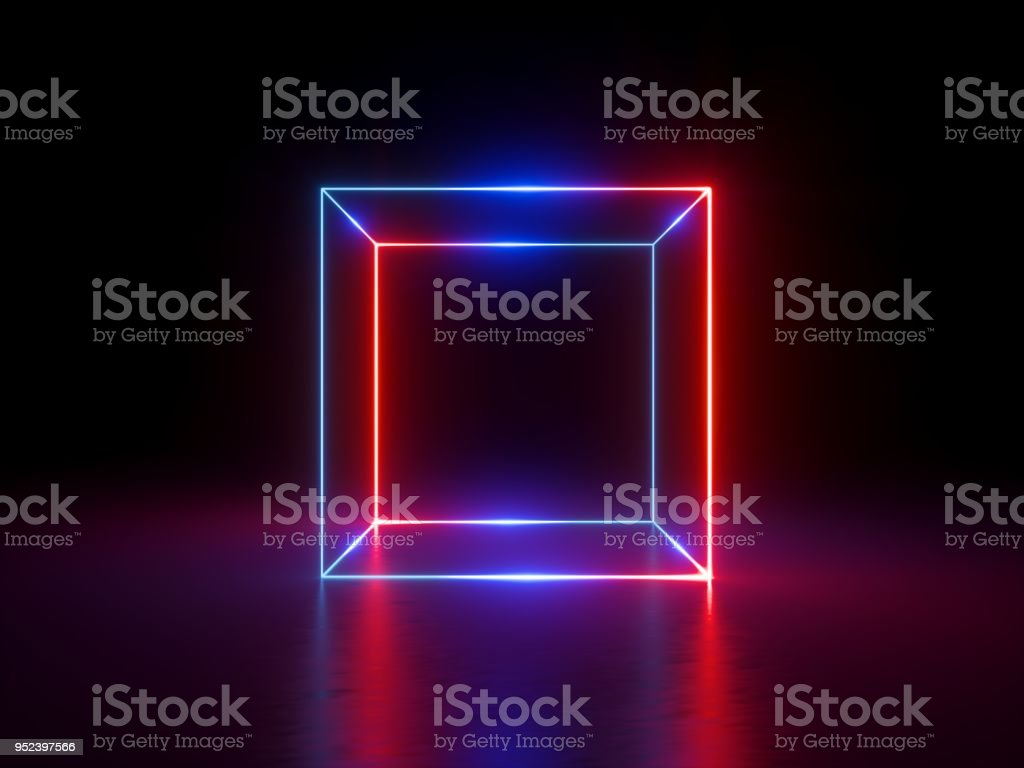 3d render, glowing lines, neon lights, abstract background, cube cage, ultraviolet, infrared, spectrum vibrant colors, laser show stock photo