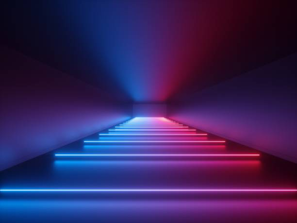 3d render, glowing lines, neon lights, abstract psychedelic background, corridor, tunnel, ultraviolet, spectrum vibrant colors, laser show stock photo
