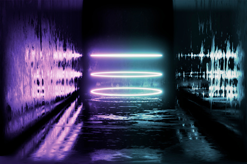 1033058616 istock photo 3d render, glowing lines, tunnel, neon lights, virtual reality, abstract background, square portal, arch, pink blue spectrum vibrant colors, laser show 1024887812