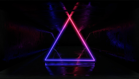 1033058616 istock photo 3d render, glowing lines, tunnel, neon lights, virtual reality, abstract background, square portal, arch, Black and White vibrant colors, laser show 1026998664