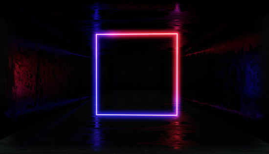 1033058616 istock photo 3d render, glowing lines, tunnel, neon lights, virtual reality, abstract background, square portal, arch, Black and White vibrant colors, laser show 1026998666