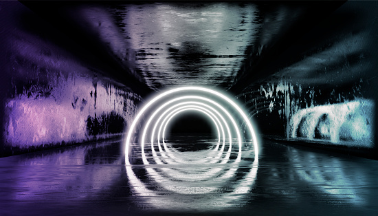 1033058616 istock photo 3d render, glowing lines, tunnel, neon lights, virtual reality, abstract background, square portal, arch, pink blue spectrum vibrant colors, laser show 1026998670