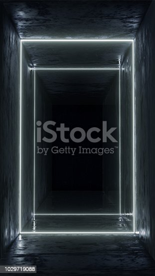 1033058616istockphoto 3d render, glowing lines, tunnel, neon lights, virtual reality, abstract background, square portal, arch, pink blue spectrum vibrant colors, laser show 1029719088