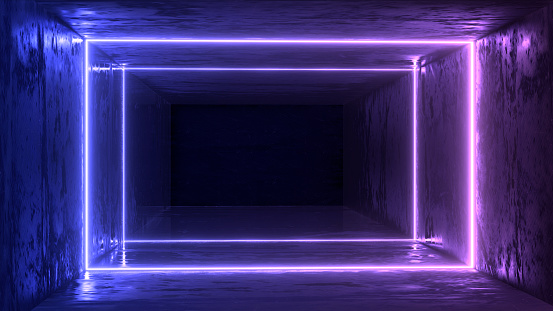 1033058616 istock photo 3d render, glowing lines, tunnel, neon lights, virtual reality, abstract background, square portal, arch, pink blue spectrum vibrant colors, laser show 1029720180