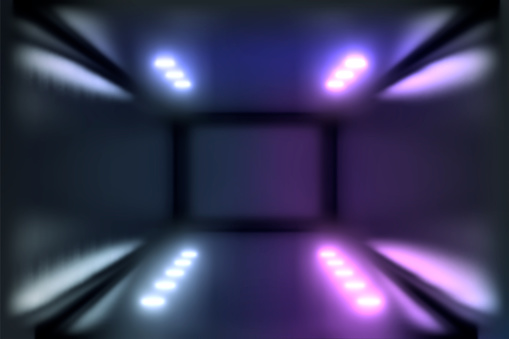 1033058616 istock photo 3d render, glowing lines, tunnel, neon lights, virtual reality, abstract background, square portal, arch, pink blue spectrum vibrant colors, laser show 1029720182