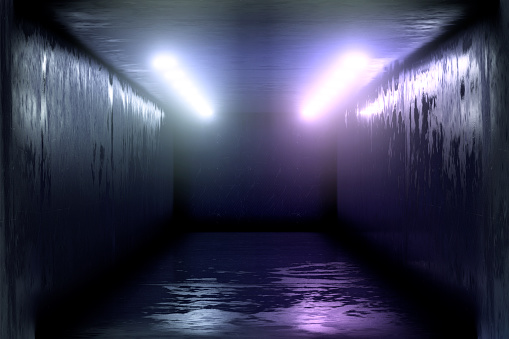1033058616 istock photo 3d render, glowing lines, tunnel, neon lights, virtual reality, abstract background, square portal, arch, pink blue spectrum vibrant colors, laser show 1029720190