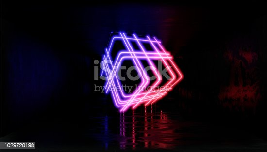 1033058616istockphoto 3d render, glowing lines, tunnel, neon lights, virtual reality, abstract background, square portal, arch, pink blue spectrum vibrant colors, laser show 1029720198