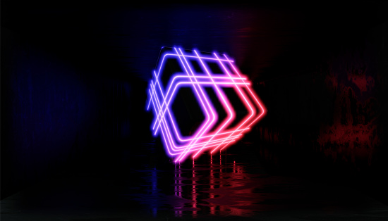 1033058616 istock photo 3d render, glowing lines, tunnel, neon lights, virtual reality, abstract background, square portal, arch, pink blue spectrum vibrant colors, laser show 1029720198