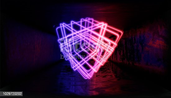 1033058616istockphoto 3d render, glowing lines, tunnel, neon lights, virtual reality, abstract background, square portal, arch, pink blue spectrum vibrant colors, laser show 1029720202