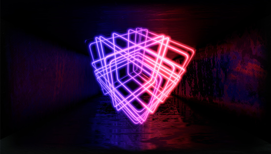 1033058616 istock photo 3d render, glowing lines, tunnel, neon lights, virtual reality, abstract background, square portal, arch, pink blue spectrum vibrant colors, laser show 1029720202