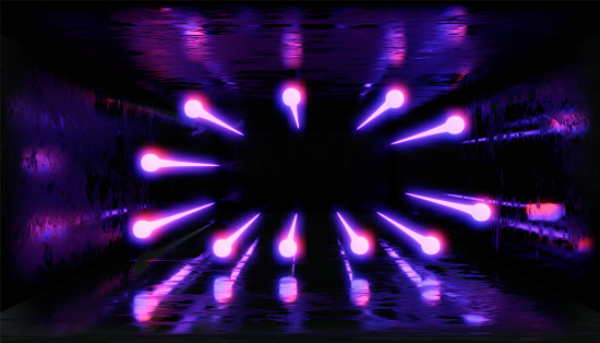 1033058616 istock photo 3d render, glowing lines, tunnel, neon lights, virtual reality, abstract background, square portal, arch, pink blue spectrum vibrant colors, laser show 1029720412
