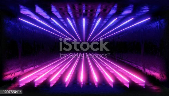 1033058616istockphoto 3d render, glowing lines, tunnel, neon lights, virtual reality, abstract background, square portal, arch, pink blue spectrum vibrant colors, laser show 1029720414