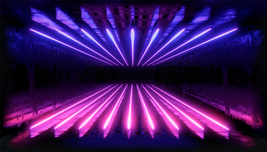1033058616 istock photo 3d render, glowing lines, tunnel, neon lights, virtual reality, abstract background, square portal, arch, pink blue spectrum vibrant colors, laser show 1029720414