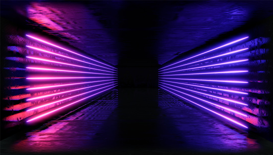 1033058616 istock photo 3d render, glowing lines, tunnel, neon lights, virtual reality, abstract background, square portal, arch, pink blue spectrum vibrant colors, laser show 1029720416
