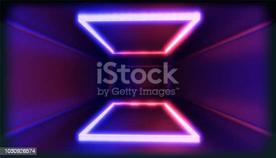 1033058616istockphoto 3d render, glowing lines, tunnel, neon lights, virtual reality, abstract background, square portal, arch, pink blue spectrum vibrant colors, laser show 1030926574