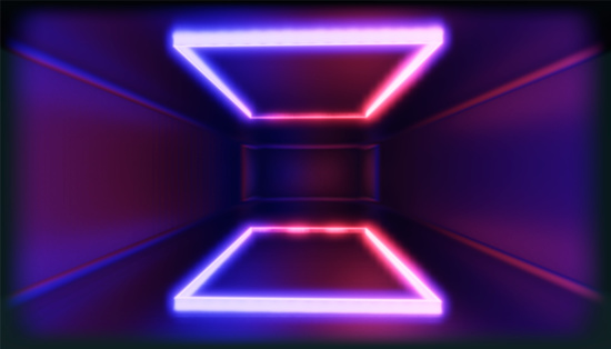 1033058616 istock photo 3d render, glowing lines, tunnel, neon lights, virtual reality, abstract background, square portal, arch, pink blue spectrum vibrant colors, laser show 1030926574