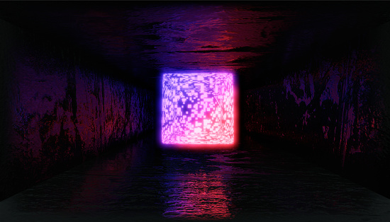1033058616 istock photo 3d render, glowing lines, tunnel, neon lights, virtual reality, abstract background, square portal, arch, pink blue spectrum vibrant colors, laser show 1030926578