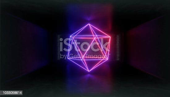 1033058616istockphoto 3d render, glowing lines, tunnel, neon lights, virtual reality, abstract background, square portal, arch, pink blue spectrum vibrant colors, laser show 1033058614
