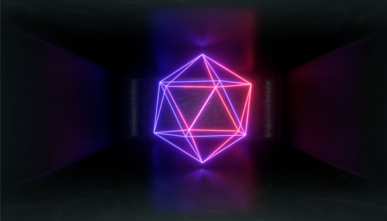 1033058616 istock photo 3d render, glowing lines, tunnel, neon lights, virtual reality, abstract background, square portal, arch, pink blue spectrum vibrant colors, laser show 1033058614