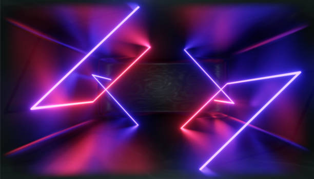 3d render, glowing lines, tunnel, neon lights, virtual reality, abstract background, square portal, arch, pink blue spectrum vibrant colors, laser show - cube shape stock pictures, royalty-free photos & images