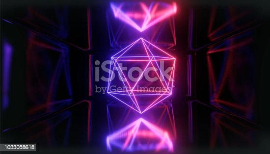 1033058616istockphoto 3d render, glowing lines, tunnel, neon lights, virtual reality, abstract background, square portal, arch, pink blue spectrum vibrant colors, laser show 1033058618