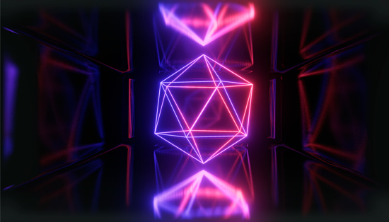 1033058616 istock photo 3d render, glowing lines, tunnel, neon lights, virtual reality, abstract background, square portal, arch, pink blue spectrum vibrant colors, laser show 1033058618