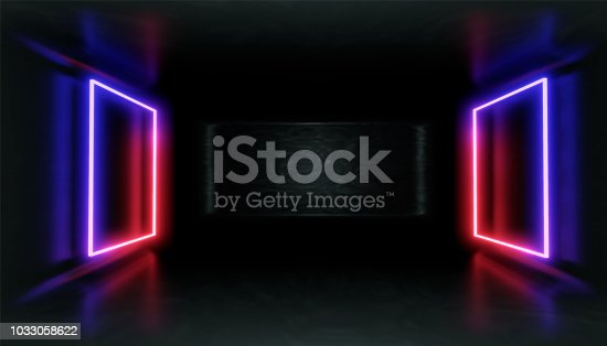 1033058616istockphoto 3d render, glowing lines, tunnel, neon lights, virtual reality, abstract background, square portal, arch, pink blue spectrum vibrant colors, laser show 1033058622