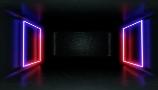 1033058616 istock photo 3d render, glowing lines, tunnel, neon lights, virtual reality, abstract background, square portal, arch, pink blue spectrum vibrant colors, laser show 1033058622