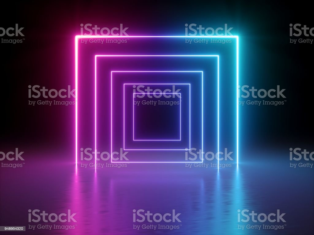 3d render, glowing lines, tunnel, neon lights, virtual reality, abstract background, square portal, arch, pink blue spectrum vibrant colors, laser show - Zbiór zdjęć royalty-free (Czerwony)