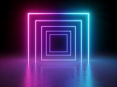 3d render, glowing lines, tunnel, neon lights, virtual reality, abstract background, square portal, arch, pink blue spectrum vibrant colors, laser show