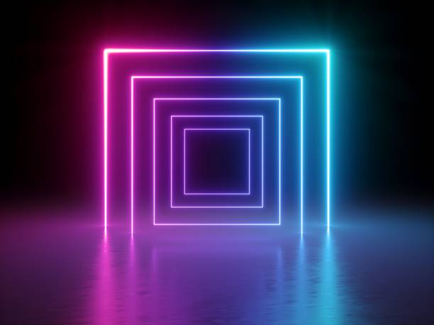 3d render, glowing lines, tunnel, neon lights, virtual reality, abstract background, square portal, arch, pink blue spectrum vibrant colors, laser show stock photo