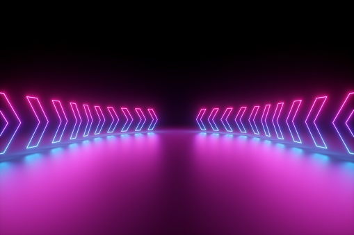 istock 3d render, glowing neon arrows, abstract background, direction concept 1149518825