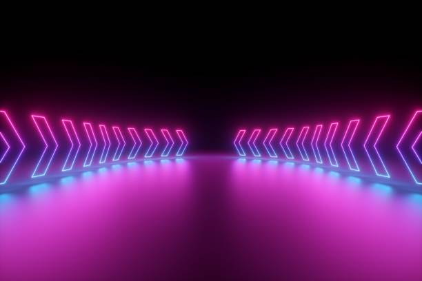 3d render, glowing neon arrows, abstract background, direction concept - znak kierunku ruchu zdjęcia i obrazy z banku zdjęć