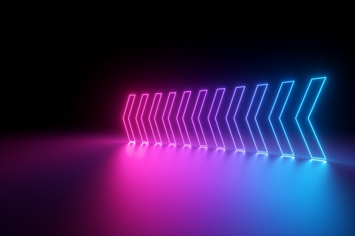 istock 3d render, glowing neon arrows, abstract background, left, direction concept 1145626150