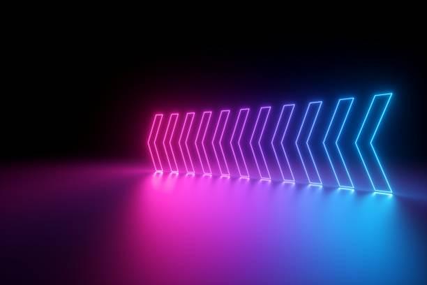 3d 렌더링, 빛나는 네온 화살표, 추상적인 배경, 왼쪽, 방향 개념 - 자외선 차단 뉴스 사진 이미지