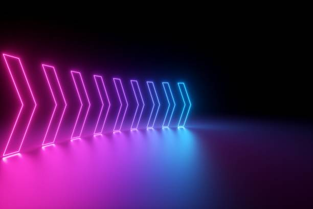 3d render, glowing neon arrows, abstract background, right, direction concept - znak kierunku ruchu zdjęcia i obrazy z banku zdjęć