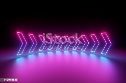 istock 3d render, glowing neon arrows, abstract background, right, direction concept 1149518633