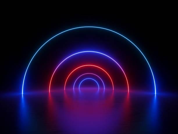 3d rendering, leuchtenden ring, runde linie, spirale schleife, neonlichter, abstrakten hintergrund, virtuelle realität, kreis, rot blauen spektrum, leuchtende farben, laser-show - hellrosa zimmer stock-fotos und bilder