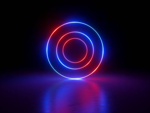 3d render, glowing rings, round lines, tunnel, neon lights, abstract background, circles, red blue spectrum, virtual reality, vibrant colors, laser show stock photo