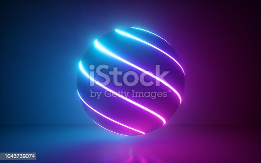 istock 3d render, glowing sphere, ultraviolet neon light, pink blue disco ball, bubble, balloon, abstract minimal background, network connections, laser show 1043739074