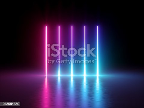 istock 3d render, glowing vertical lines, neon lights, abstract psychedelic background, ultraviolet, spectrum vibrant colors, laser show 948954380