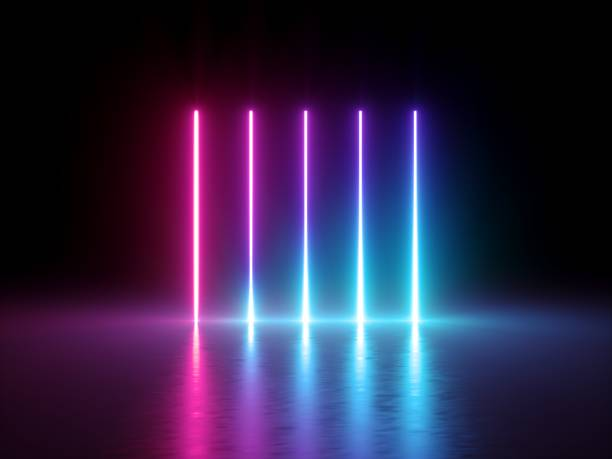3d render, glowing vertical lines, neon lights, abstract psychedelic background, ultraviolet, spectrum vibrant colors, laser show stock photo