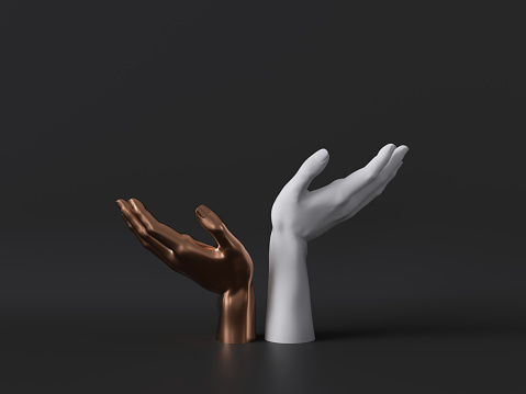 istock 3d render, gold and white female mannequin hands isolated on black background, body parts, fashion concept, religious prayer, sacred ritual, holding gesture, clean minimal design, blank space 1166774297