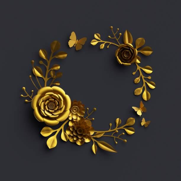 3D Render, gold Papierblumen, dramatische Blumenarrangement, isoliert auf schwarzem Hintergrund, Rahmen, Dahlie, rose, botanische Dekor, künstliche Naturelemente, DIY-Kranz ClipArt quilling Handwerk, – Foto
