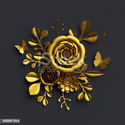 3d Render Gold Paper Flowers Rose Floral Bouquet Isolated On Black